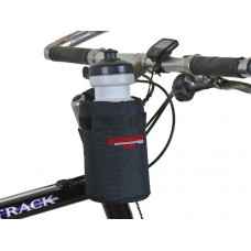 Bushwhacker Shasta Black - Insulated Bike Water Bottle Holder w/ 20 oz. Bottle - Two Point Bike Frame & Handlebar Attachment w/ Belt Loop