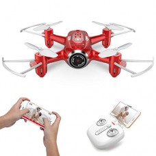 SYMA X22W Mini Drone with Camera Live Video FPV Pocket Drone for Kids and Beginners, RC Quadcopter with App Control, Altitude Hold, 3D Flips, Headless Mode and Bonus Battery, Red