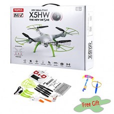 JMAZ Syma X5HW FPV RC Quadcopter Drone HD WiFi FPV Camera Take Picture Record Video Hover Function White Flying Toy