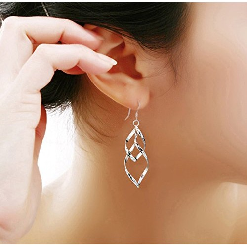 Womens Classic Double Linear Loops Design Twist Wave Earrings for Women Girls