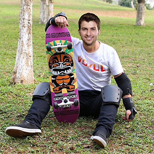 VOKUL 31 X 8 Complete Standard Skateboard with 7 Layer Maple Wood Cruiser Skateboard Deck for Kids Youths Adults