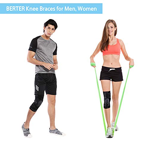 19560197be BERTER Knee Brace Men Women - Compression Sleeve Non-Slip Running, Hiking,  Soccer, Basketball Meniscus Tear Arthritis ACL Single Wrap