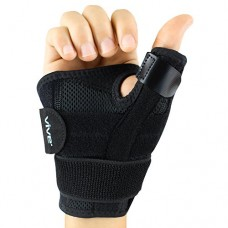 Arthritis Thumb Splint by Vive - Thumb Spica Support Brace for Pain, Sprains, Strains, Arthritis, Carpal Tunnel & Trigger Thumb Immobilizer - Wrist Strap - Left or Right Hand (Black)
