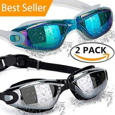 ALLPAIPAI Swimming Goggles Swim Goggles, Pack of 2 Professional Anti Fog No Leaking UV Protection Wide View Swim Goggles for Women Men Adult Youth Kids