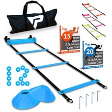 Pro Agility Ladder Cones - 15 ft Fixed-Rung Speed Ladder 12 Disc Cones Soccer, Football, Sports Training - Includes Heavy Duty Carry Bag, 4 Metal Stakes Top 20 Agility Drills eBook