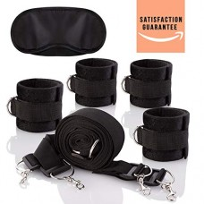Bed Restraints - Under Bed Restraint Kit - Bed Restraint Kit for Women with Soft Wrist Braces & Ankle Cuffs - Leg Restraints with Fuzzy Handcuffs Satin Blindfold - Bondageromance Restraint with Mask