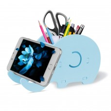 Cell Phone Stand, Cute Elephant Phone Stand Tablet Desk Bracket with Pen Pencil Holder Compatible iPhone iPad Nintendo Switch Tablet Smartphone, Desk Decoration Multifunctional Stationery Organizer, Blue