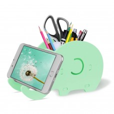 Cell Phone Stand, Cute Elephant Phone Stand Tablet Desk Bracket with Pen Pencil Holder Compatible iPhone iPad Nintendo Switch Tablet Smartphone, Desk Decoration Multifunctional Stationery Organizer, Green
