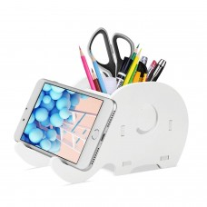 Cell Phone Stand, Cute Elephant Phone Stand Tablet Desk Bracket with Pen Pencil Holder Compatible iPhone iPad Nintendo Switch Tablet Smartphone, Desk Decoration Multifunctional Stationery Organizer, White