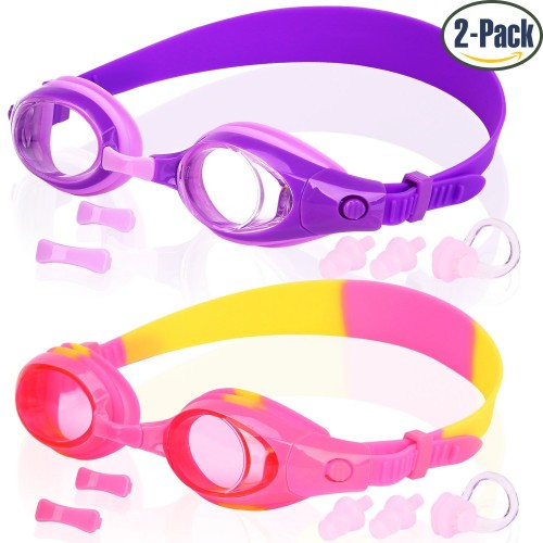 Waterproof Swim Glasses No Leaking 2-Pack Wide Vision Swimming Goggles for Children Toddler and Early Teens from 4 to 15 Years Old COOLOO Kids Swim Goggles Anti-Fog