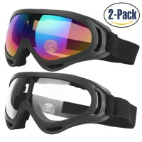 COOLOO Ski Goggles (2 Pack)  Multicolor & Transparent